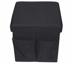 Taburet Textil cu Spatiu Depozitare si buzunare, 38 x 38 cm,negru