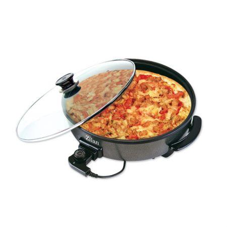 Tigaie electrica pizza,1500W,capac sticla,38 cm,acoperire non-stick