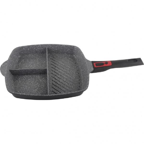Tigaie grill 3 in1din aluminiu cu interior granit,28 cm,maner soft touch detasabil