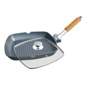 Tigaie Grill Grunberg din Aluminiu cu interior teflon si maner detasabil, 24 cm