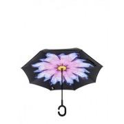 Umbrela de ploaie reversibila 106 cm Imprimeu Interior Blue Flower