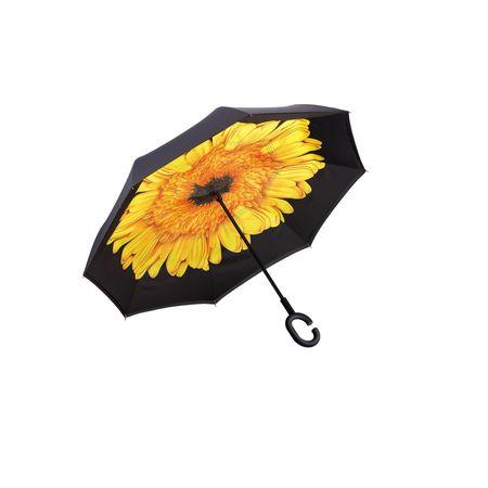 Umbrela de ploaie reversibila 106 cm Imprimeu Interior Floarea soarelui