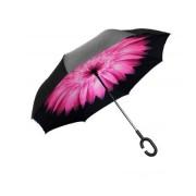 Umbrela de ploaie reversibila 106 cm Imprimeu Interior Purple Flower