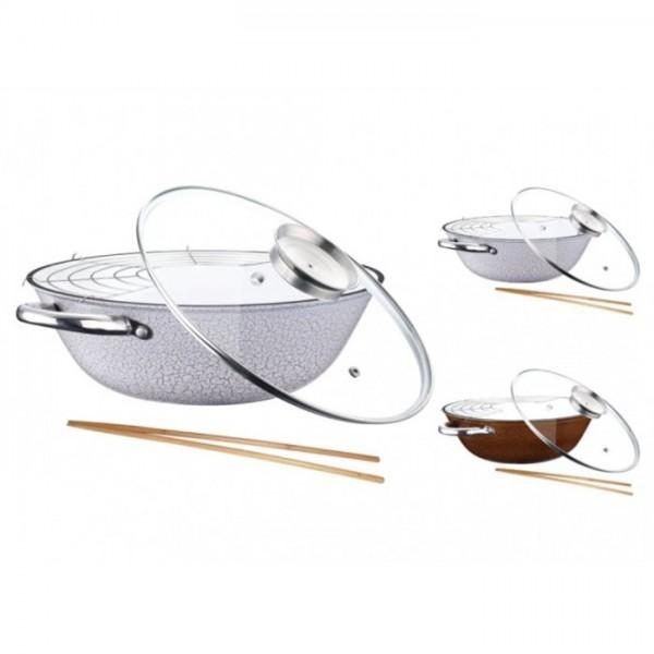 Tigaie wok fonta cu suport si capac Peterhof,32 cm